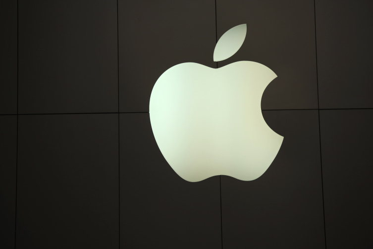 The Apple logo is pictured at the company's flagship retail store in San Francisco, California