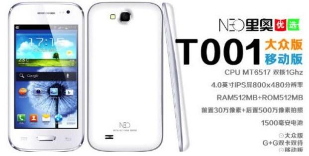 Neo T001, Ponsel Cina Mirip dengan Samsung Galaxy S III Mini