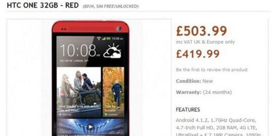 HTC One dengan Varian Warna Merah