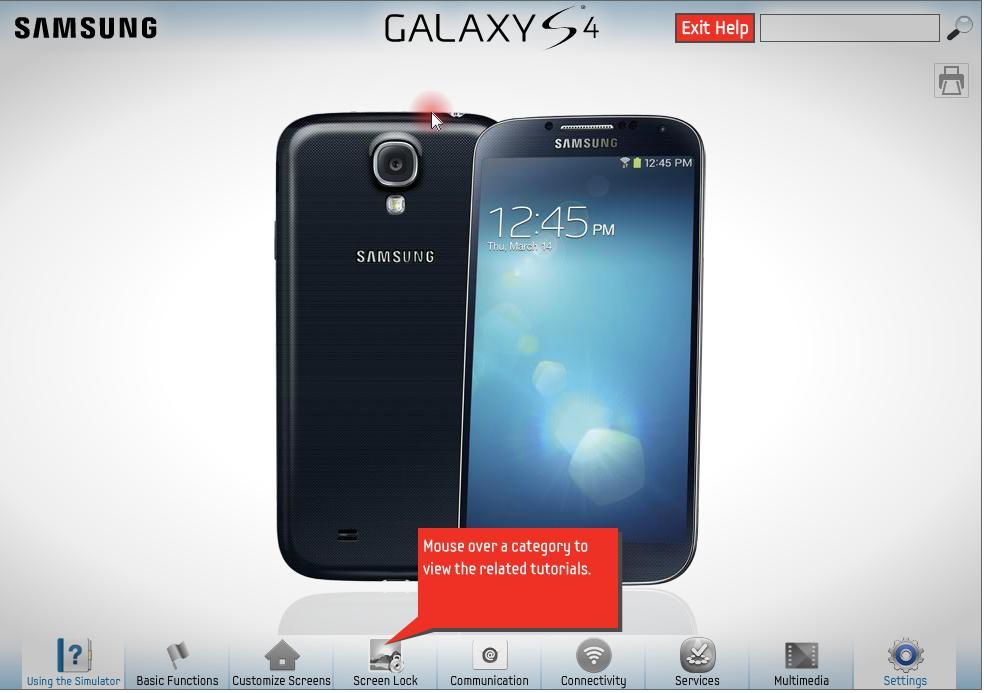 simulator Samsung galaxy s4