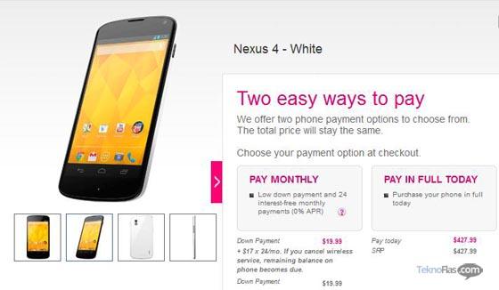 Google Nexus 4 telah tersedia di US