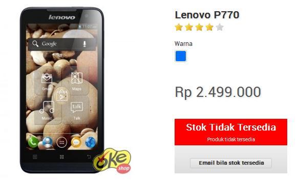 Harga Lenovo P770 dibandrol 2,4 jutaan