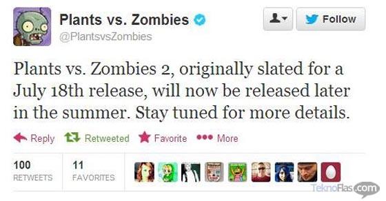 Plants vs Zombies 2 Batal Rilis 18 Juli Mendatang