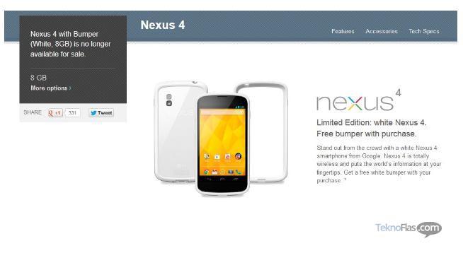 White Nexus 4 Versi 8GB Tidak Tersedia Lagi di Google Play