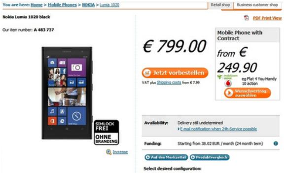Harga Pre-order Nokia Lumia 1020 Dibuka di Jerman