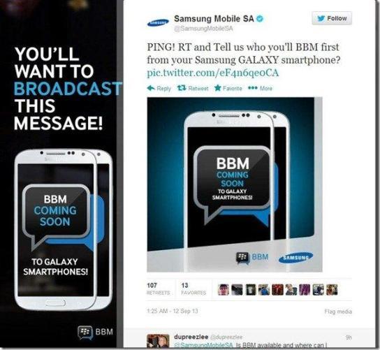 Samsung Iklankan BlackBerry Messenger
