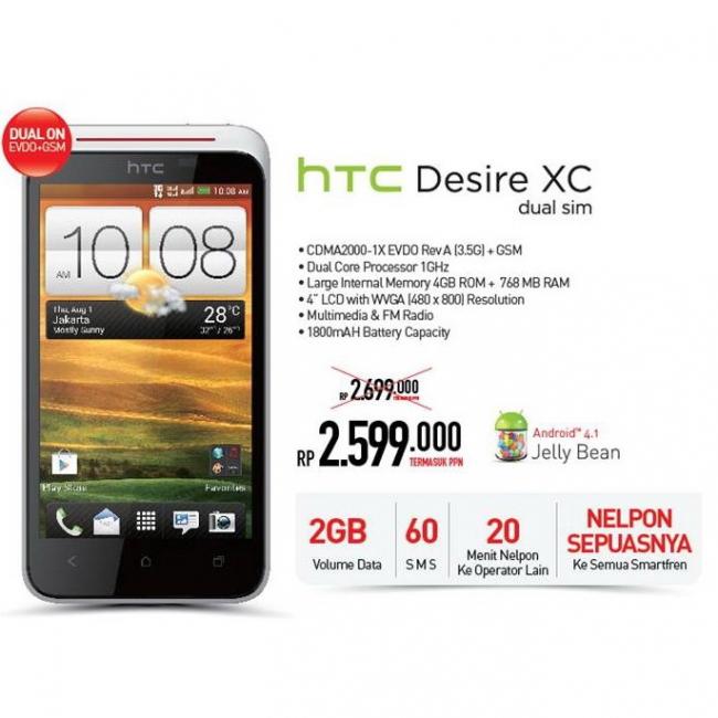 Harga HTC Desire XC Dual Sim Dibanderol Rp 2,6 Jutaan