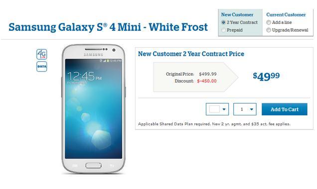 Harga Samsung Galaxy S4 Mini Dibanderol $49.99 di U.S. Cellular