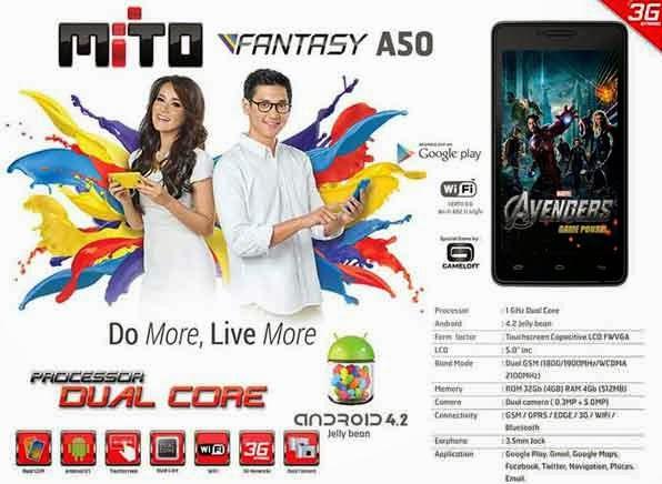 Mito Fantasy A50 HP Android Dual Core Murah Cuma 1,1 Jutaan