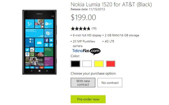 Harga Pre-order Phablet Nokia Lumia 1520 Dibandrol Rp 2,2 Jutaan Sistem Kontrak
