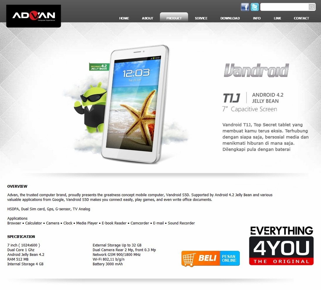 Advan Vandroid T1J Tablet Android Harga Murah