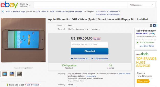 iPhone Dengan Flappy Bird Dijual Seharga $90.000 di Ebay