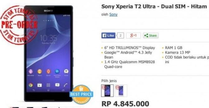 Sony Xperia T2 Ultra Resmi Beredar di Indonesia