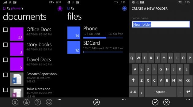 Aplikasi File Manager Windows Phone 8.1