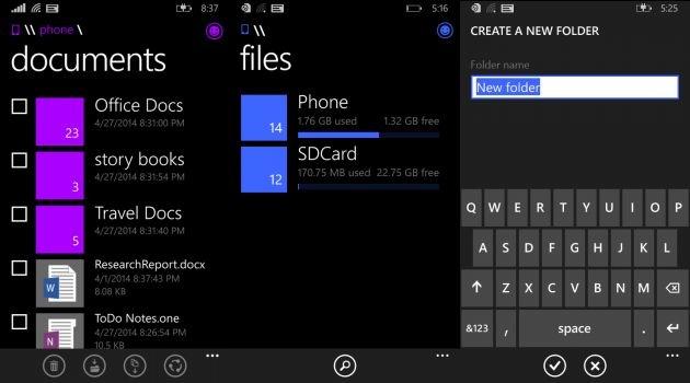 Aplikasi File Manager Windows Phone 8.1