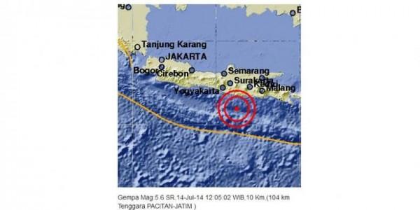 Gempa Pacitan Hari Ini Senin 14 Juli 2014 Berkekuatan 5,6 SR