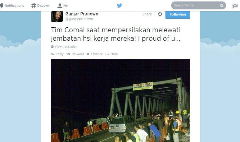 Jembatan Comal Kembali Dibuka, Inilah Apresiasi Gubernur Jateng Ganjar Pranowo