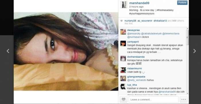 Marshanda Unggah Foto Tanpa Jilbab Di Instagram, Ben Kasyafani Tidak Kaget