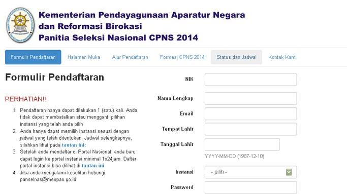CPNS Online 2014 di regpanselnas.menpan.go.id dan sscn.bkn.go.id