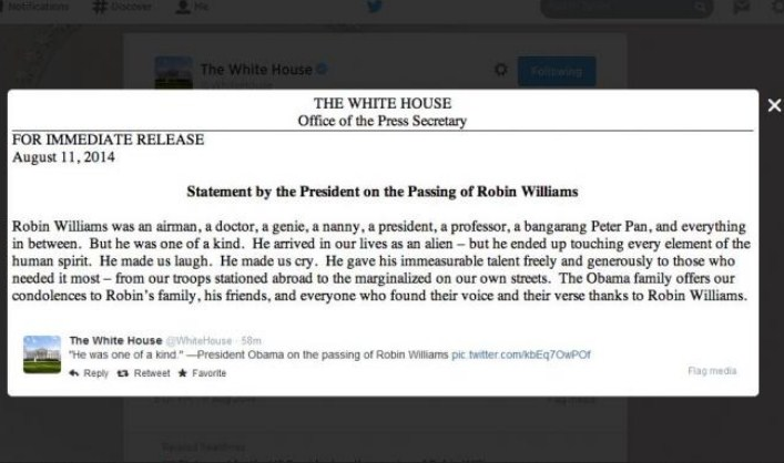Robin Williams Meninggal, Obama Ucapkan Belasungkawa