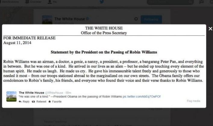 Robin Williams Meninggal, Obama Ucapkan Belasungkawa