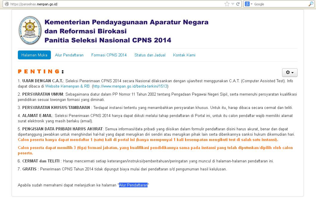 Pendaftaran CPNS 2014 Online di panselnas.menpan.go.id Diperpanjang