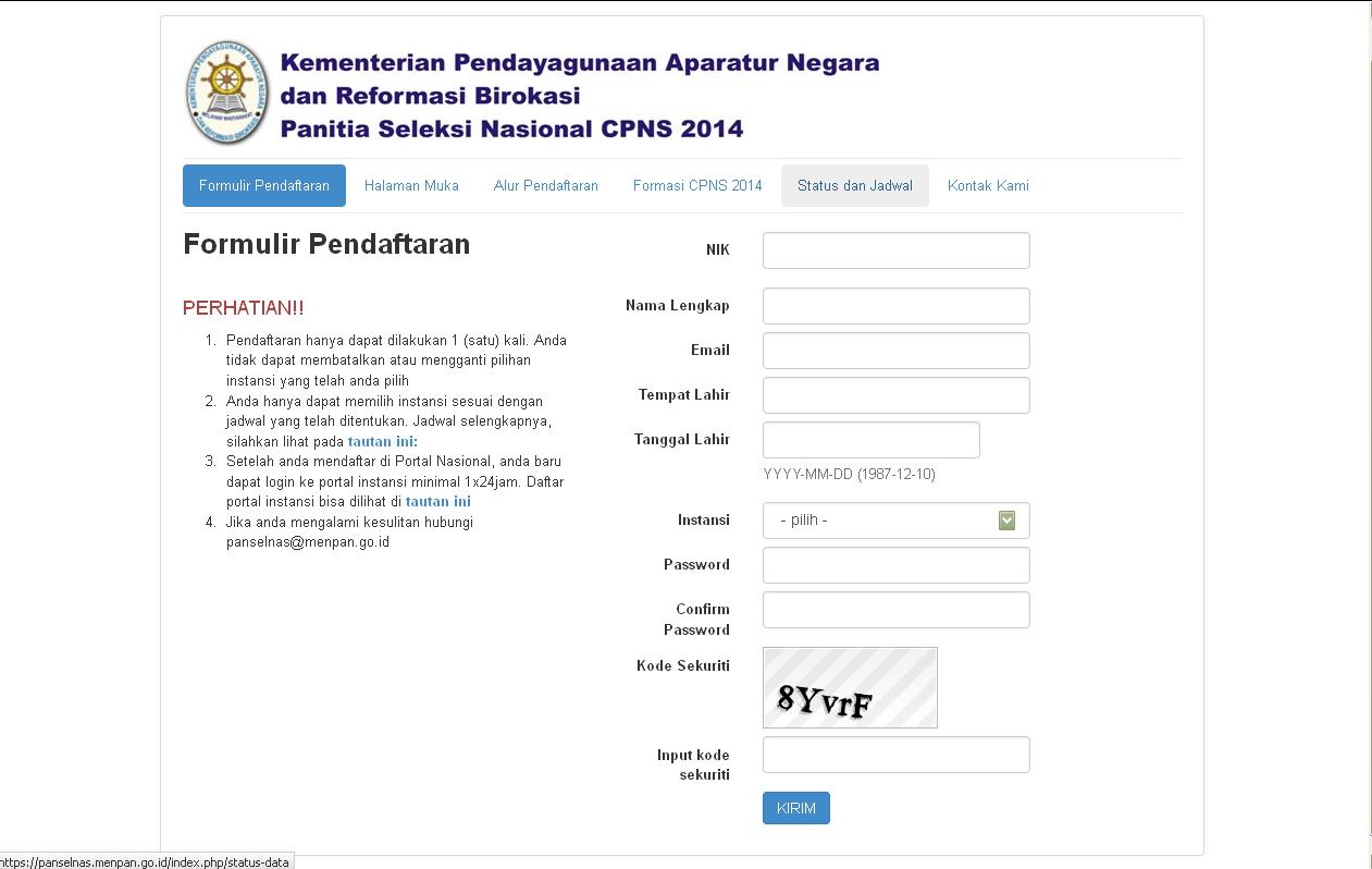 regpanselnas.menpan.go.id: Isi Formulir Pendaftaran CPNS 2014 Online Disini!