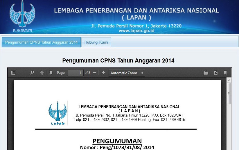www.panselnas.menpan.go.id: Pendaftaran CPNS LAPAN 2014 Online Sekarang!