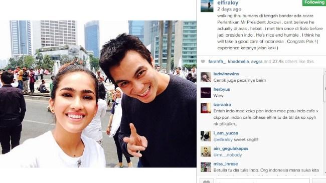 Inilah Foto Kemesraan Elfira Loy dan Baim Wong