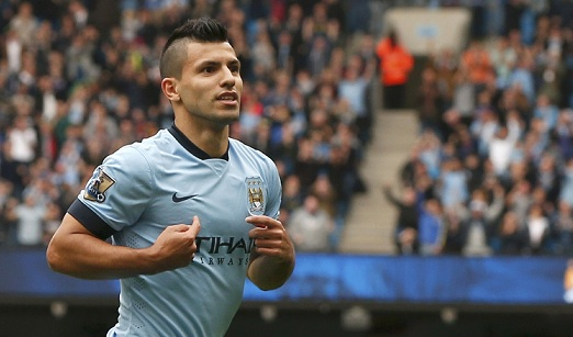 Manchester City's Sergio Aguero celebrates scoring a goal during their English Premier League soccer match against Tottenham Hotspur at the Etihad Stadium in Manchester