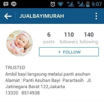 foto akun instagram jual bayi murah