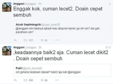 Tweet Angga manajer CJR terkait kabar Iqbaal (doc/kapanlagi.com)
