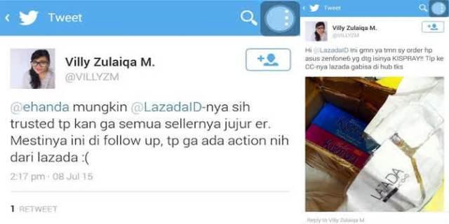 Tweet komplain kepada Lazada (doc/merdeka.com)
