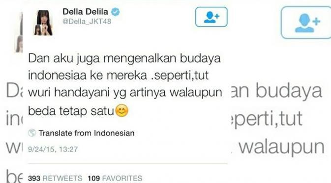 Tweet Della JKT 48, salah arti tut wuri handayani