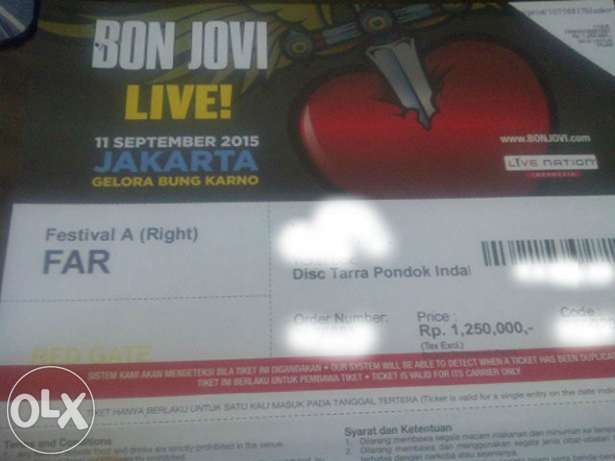 Gambar tiket Bon Jovi dijual via OLX