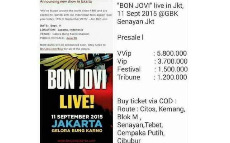 Tiket palsu Bon Jovi